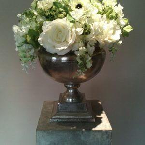 Zijden Bloemstuk witte roos