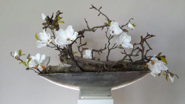 Zijden bloemstuk magnolia