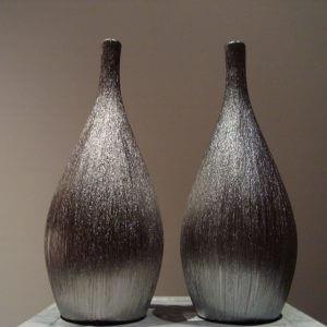 Zilverkleurige ribbel vaas