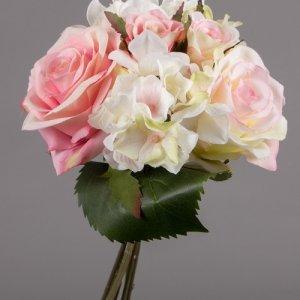 Boeket Hydrangea Roos roze wit 21 cm